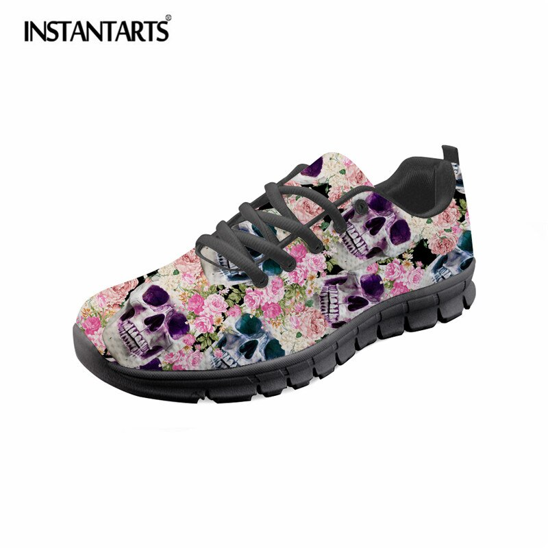 Brand Designer Women Flats Shoes Skull Floral Pattern
