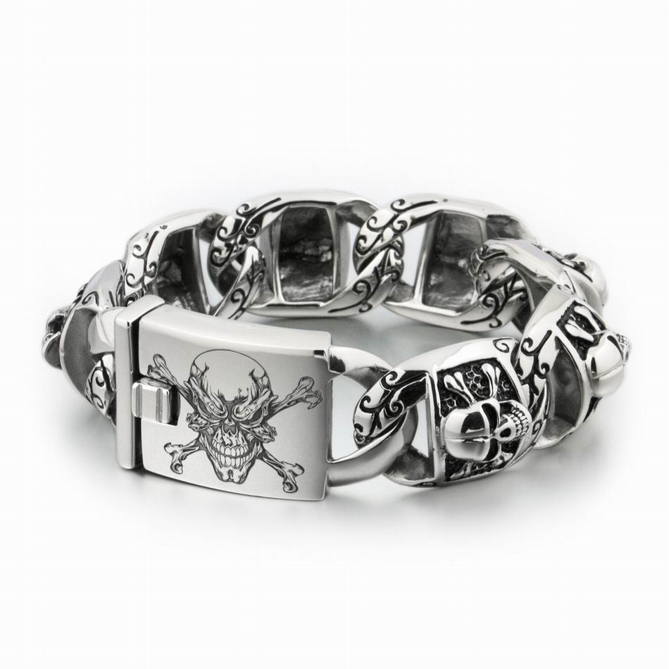 Huge Heavy 316L Stainless Steel Deep Laser Engraved Pirate