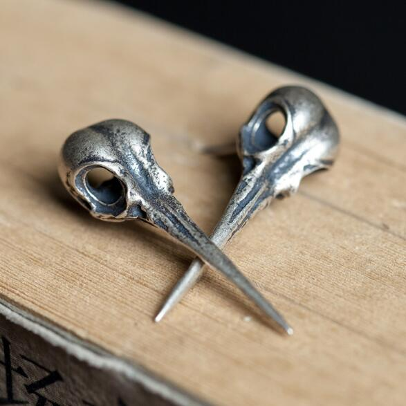 New Gothic Punk Antique Real 925 Sterling Silver Bird Skull Stud Earrings