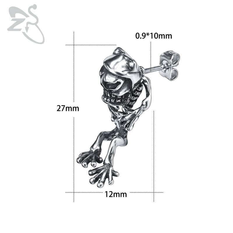 Rock Roll Stud Earrings Skull Frog for Men Stainless Steel