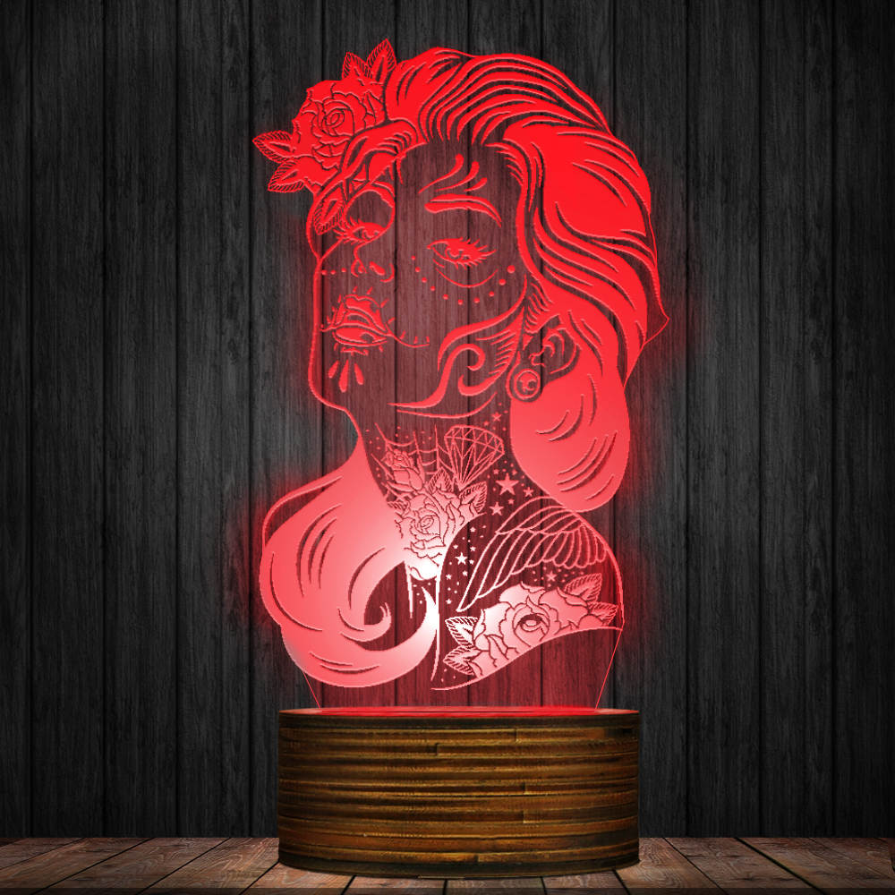 Day Of The Dead Color Change Night Light Girl Sugar Skull LED Table Lamp