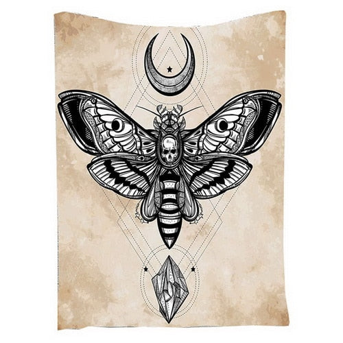 Skull Butterfly Mandala Tapestry Moon Star Tapestry Wall Hanging Diamond
