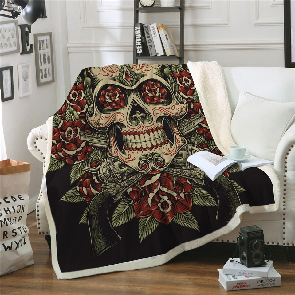 Beautiful Sugar Skull Blanket for Beds Floral Roses Thin Quilt Fashionable Blanket