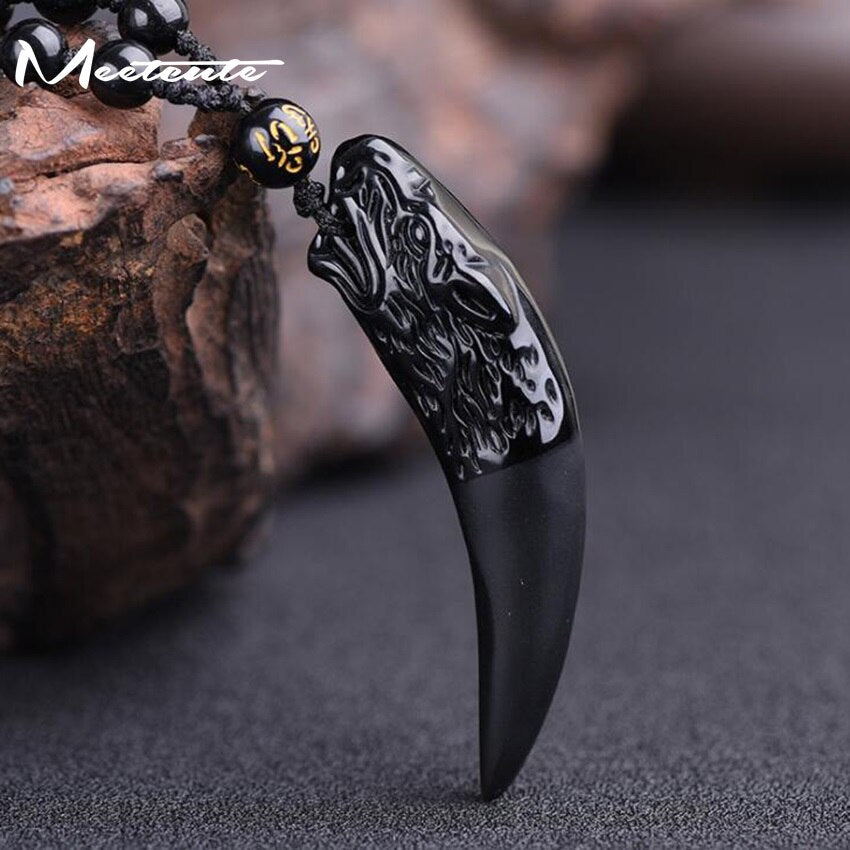 Stone Ice Obsidian Pendant Necklace Wolf Tooth Amulets Talismans Couple