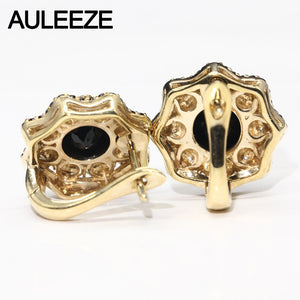Halloween Flower Solid 10K Two Tone Gold Engagement Earrings Unique