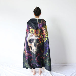Flowery Skull by SunimaArt Hooded Blanket Flower Dragon
