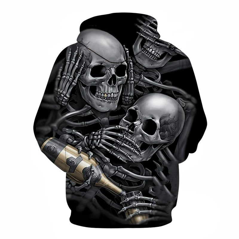 3d Hoodies Skulls Champagne Print  Hooded Hoodies Thin 3d Sweatshirts