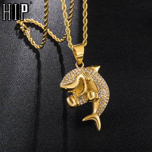 Hop Iced out Bling Gold Color Shark Stainless Steel