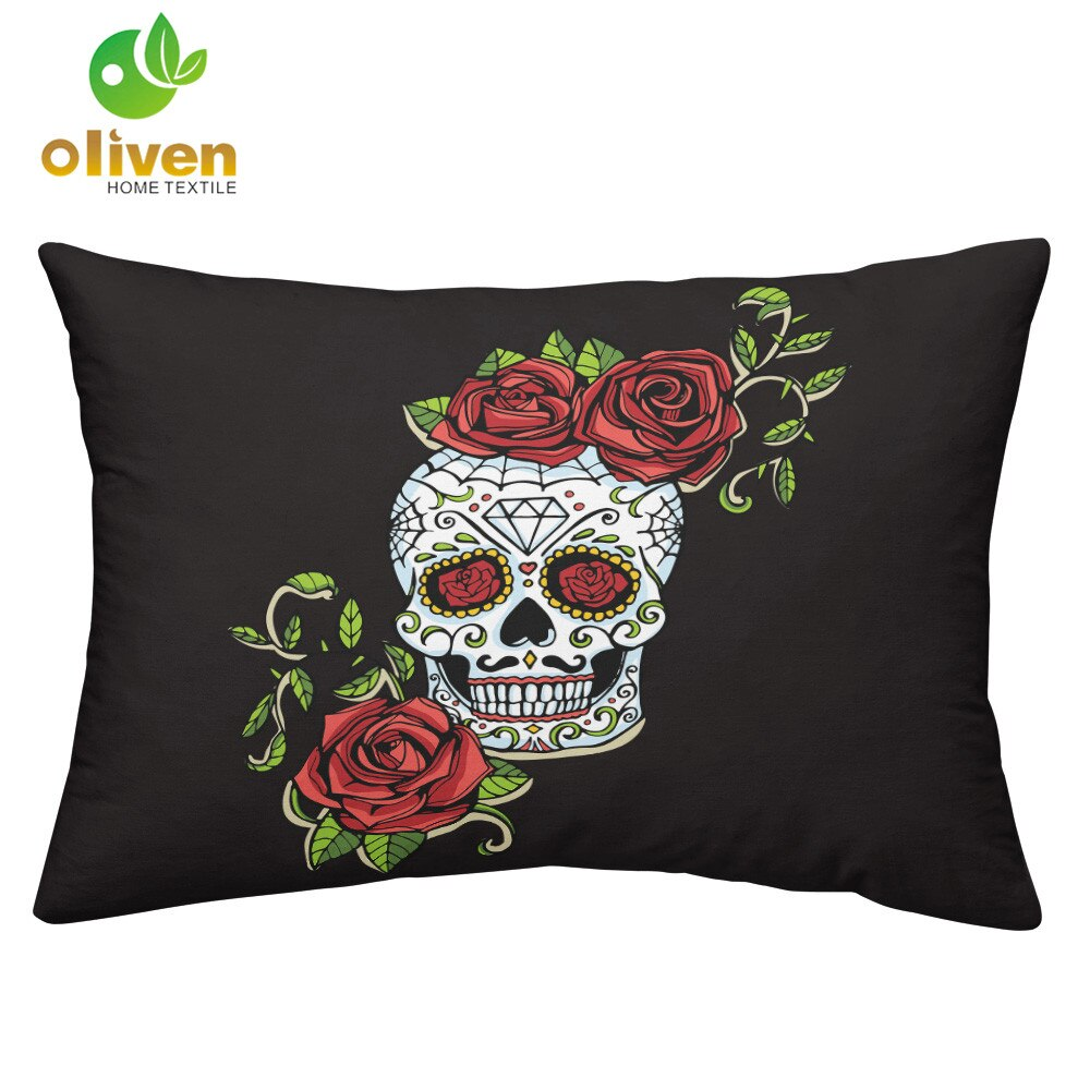 New Sugar Skull Bedding Set Rose Floral Duvet Cover Set Polyester Bedding Bedroom