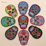 9pcs/lot Punk Rock Skull Embroidery Patches Various Style Flower Rose Skeleton Iron On Biker Patches Clothes Stickers Applique