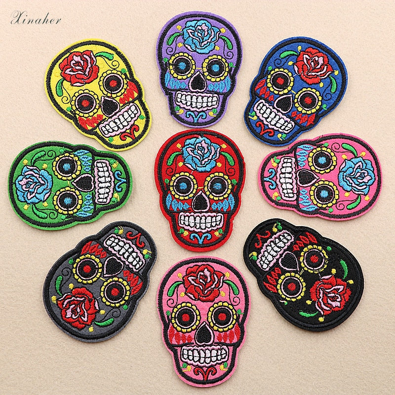Set of 9pcs Sugar Skull Embroidery Patches Various Style Flower Rose Skeleton
