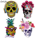 Fashion Pineapple Patches Skull Iron On Transfers Patch Decoration Stickers Applique Clothes for T-shirt West Coat 2pcs