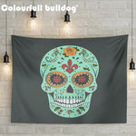 Cartoon Mexican Sugar Skull Tapestry Hanging Red Orange Flowers Wall Blankets