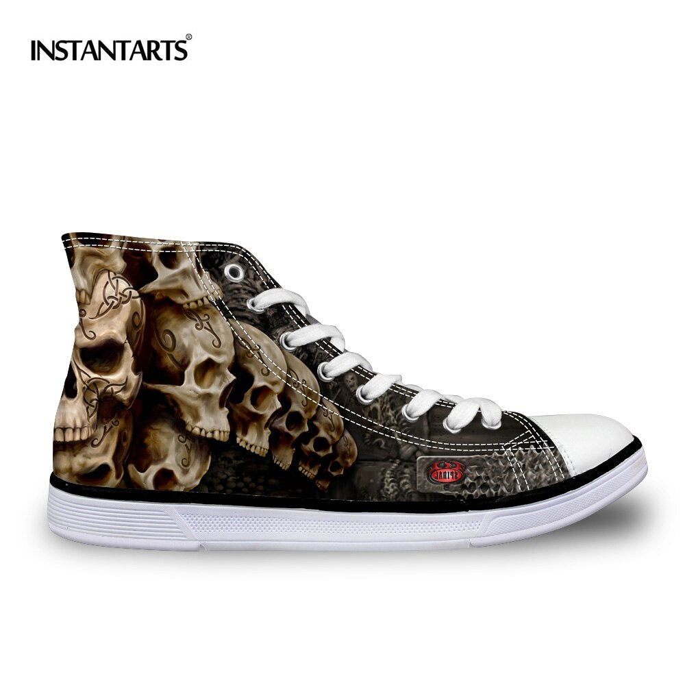 Cool Punk Skull Printed Men's High-top Canvas Shoes