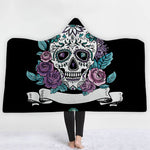 Skull Hooded Blanket for Adult 3D Printed Cartoon Skull