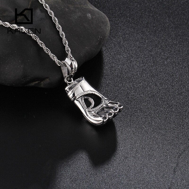 Stainless Steel High Quality Boxing Glove Pendant Long Chain Necklace