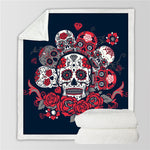 Sugar Skull Blanket Roses Microfiber Sherpa Sofa Throw Blanket