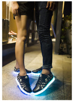 7 Colors Unisex LED Luminous Light Shoes Printed Skull head Lovers Women Fashion USB Light Led Shoes for Adult Eur 36-44