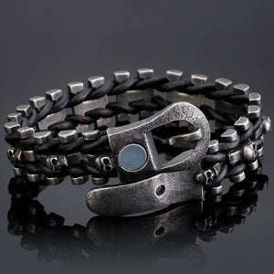 Skull Bracelets For Men Stainless Steel Gothic Ghost Head Leather