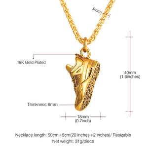 Sport Shoes Pendant Necklace Jewelry Stainless Steel Gold/Black