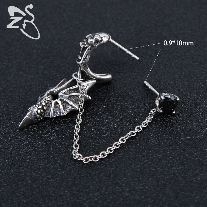 Punk Earrings Skull Stainless Steel Jewelry Dragon Long Chain Double Stud Earrings