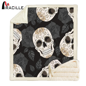 Plaid Skull Flannel Throw Blanket Snuggle Fuzzy Sherpa Fleece Microfiber Blankets