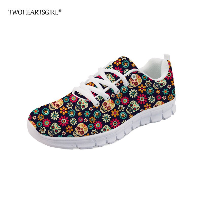 Sugar Skull Printed Fashion Women Shoes Classic Female Lace-up Mesh Walking Shoes