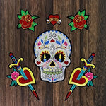 1set Large Bird Flower Patches Sword Love Heart Skull Applique Sew on Iron on Stickers for Dress Clothes Garment Accessories