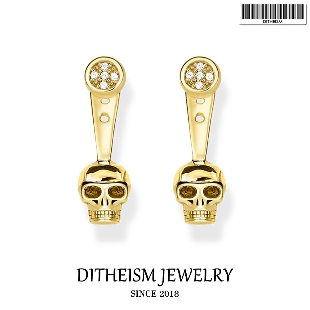 Skull Pave Stud Earrings, 2019 New Cubic Zirconia Fashion