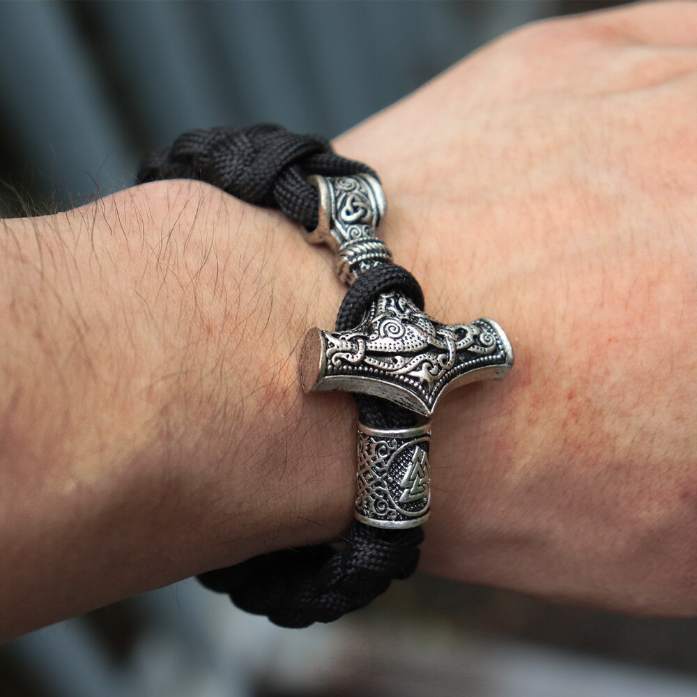 Mens Viking Mjolnir Leather Bracelet Thor hammer