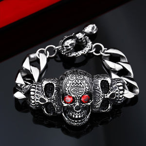 316L Stainless Steel bracelet red eyes stone skull Bracelet