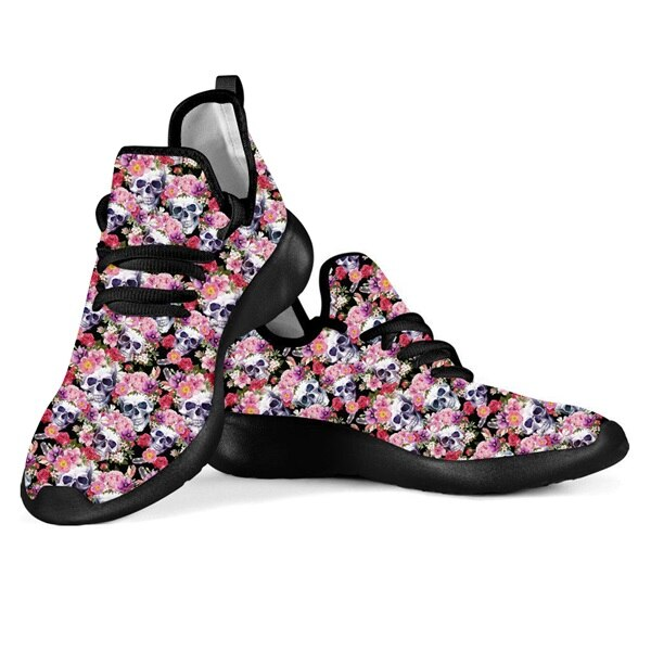 Punk 3D Rose Skull Print Woman Spring/Autumn Flats Shoes