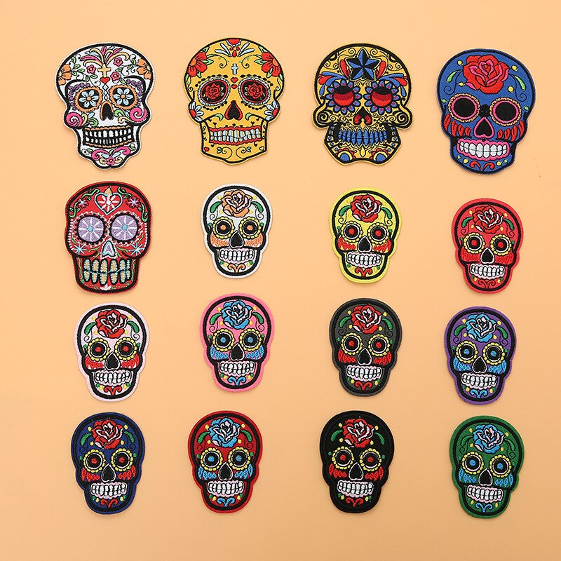 Embroidered Patches Sugar Skull Patch Mexico Day of the Dead Iron On Fabric Badges DIY Sewing Applique for Jackets Jeans
