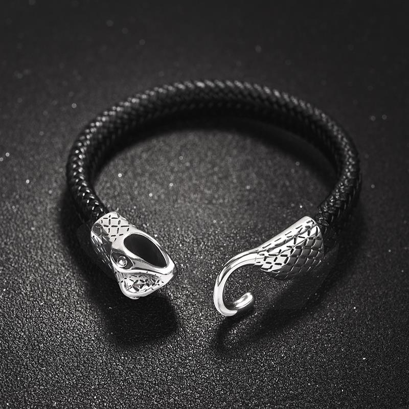 Unique Punk Leather Bracelet Men New Stainless Steel