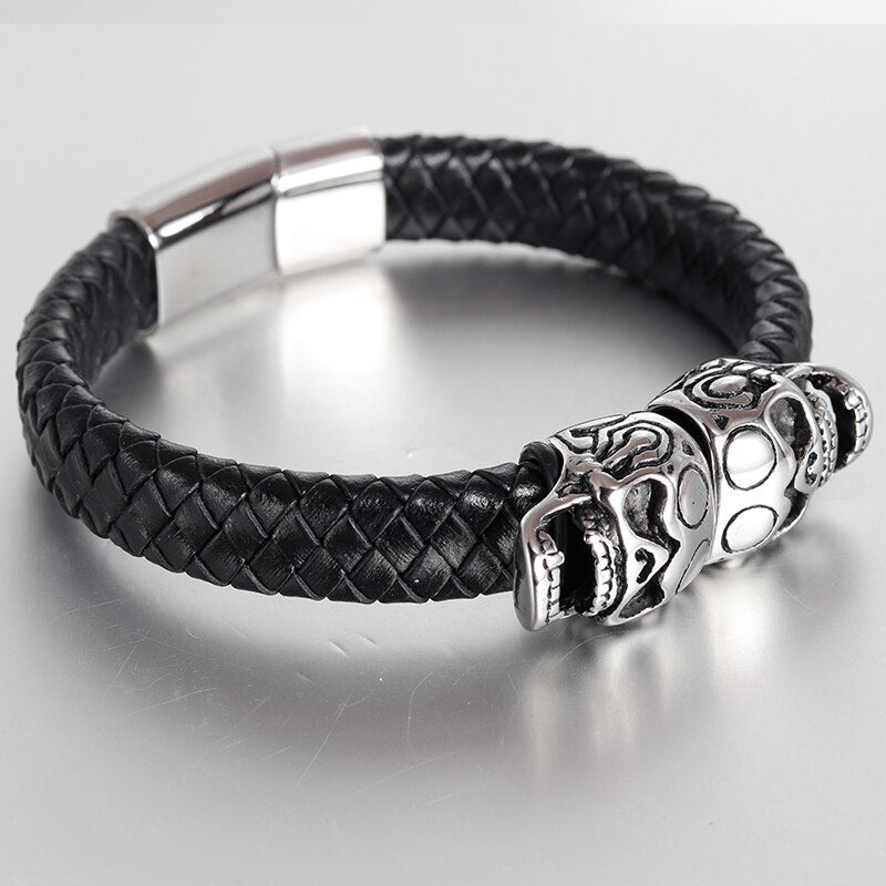 Punk Genuine Leather Bracelet Bangle Double Skull Charm Bracelet