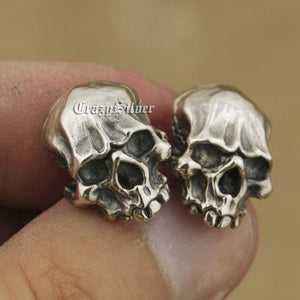 925 Sterling Silver Mens Biker Rock Punk Skull Stud Earrings TA40