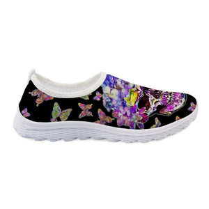 Skull Pattern Black Women Shoes Flats 3D Butterfly