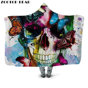 Color Butterfly Hooded Blanket Anime Bedding Brand Casual Fashion Skull