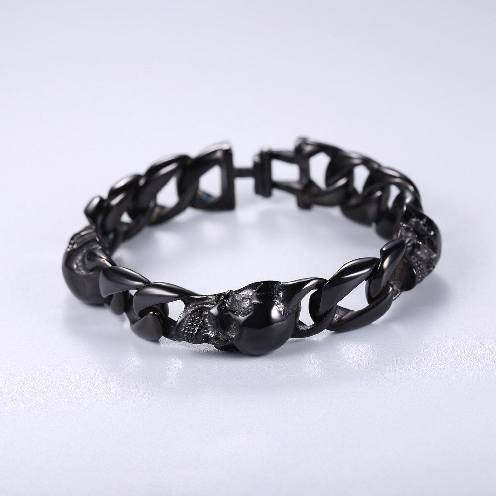 U7 Skull Bracelets Cuban Link Skeleton Rocker Punk Bangle