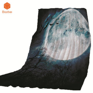 Thin Blanket For Bed Super Soft Skull forest Moon Halloween Throw Blanket
