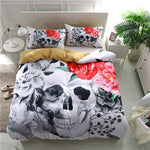 Black And White Skull Duvet Cover With Pillowcases 3D Flowers Print Soft Bed