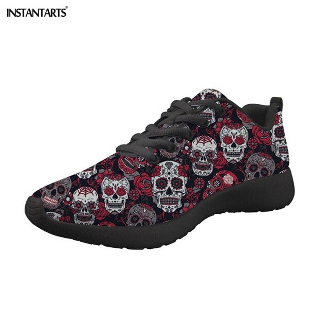 Ladies Flats Shoes Lace Up Classic Sugar Skulls Printing Women