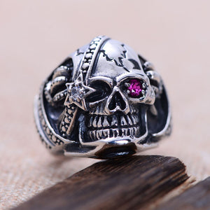 Punk Rock Men's Pirates of The Caribbean Skull Rings Solid 925 Sterling Silver