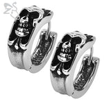 Punk Small Hoop Earrings Skull Cross Stainless Steel Jewelry