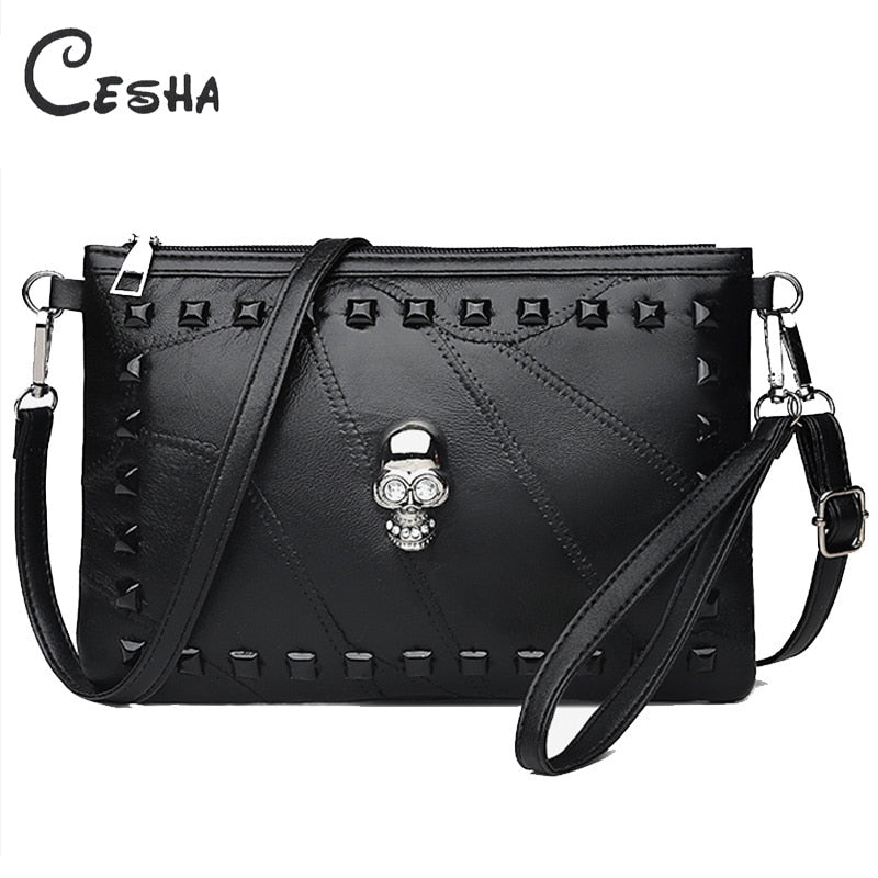 Fashion Patchwork Sheepskin Leather Women Handbag Fashion Skull