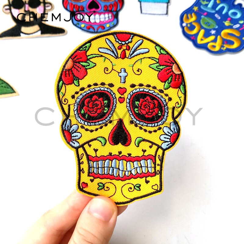Yellow Mexican Skull Embroidered Skull Patch for Clothing Iron on Sewing Applique for Jackets Jeans Clothes Stickers Badges