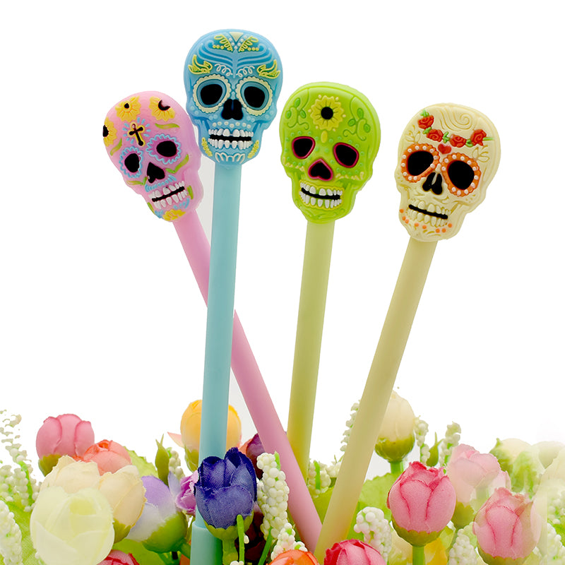 12Pcs Creative Gel Pens Skull Head Soft Glue Neutral Pen Office