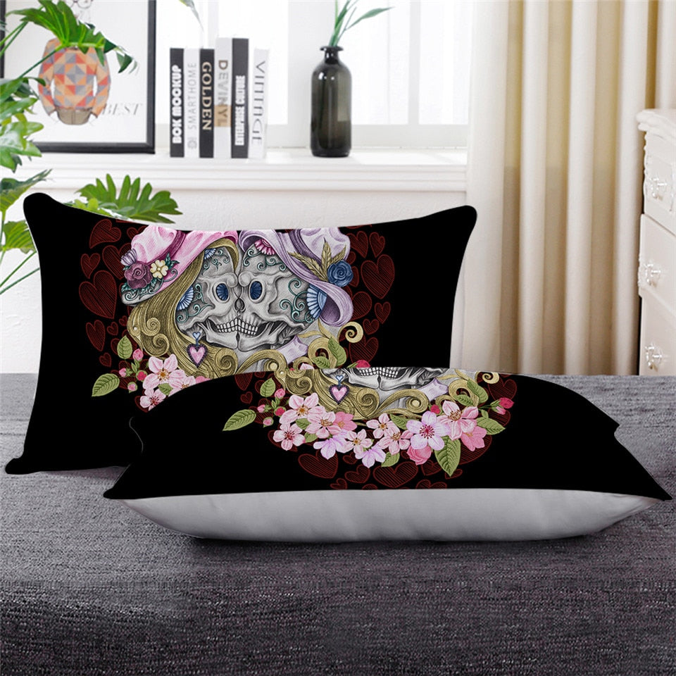 Skull Couples Sleeping Down Alternative Pillow Gothic Throw Body Pillow