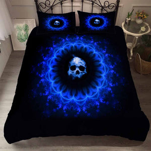 YI CHU XIN sugar Skull Bedding Set Duvet Cover Blue Fire Bedclothes 3pcs