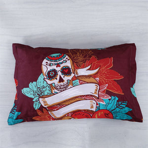 Home Textile Sugar Skull Bedding Set Flower Heart Duvet Cover